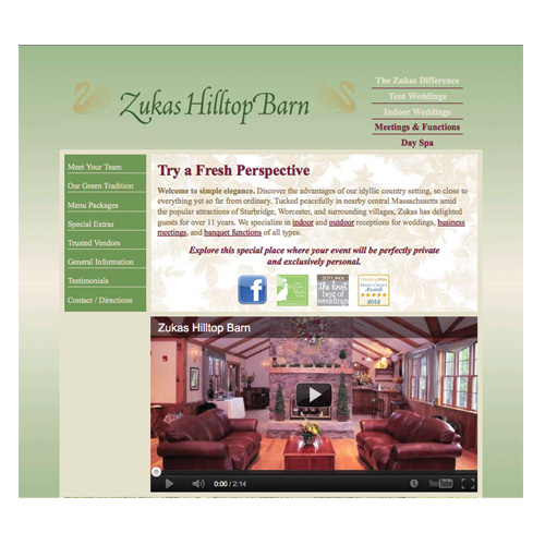 Zukas Hilltop Barn Website